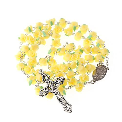 Creativo Nuevo 10 Mm Cruz católica Rosario Collares de cadena larga Oración Colgante de cruz colorida Flores de arcilla polimérica Oración Longitud religiosa 58 Cm