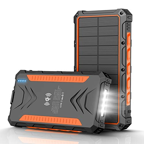 QiSa Solar Power Bank 30000mAh, Solar Charger,Portable Charger, Outputs 5V/3A High-Speed & 2 Inputs Huge Capacity Phone Charger for Smartphones, IP66 Rating, Strong Light LED Flashlights(Orange).