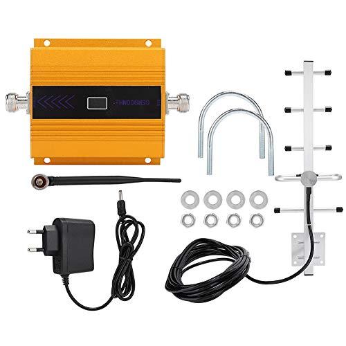 ASHATA telefoonsignaalversterker, Golden GSM 900 MHz telefoonversterker booster repeater + kamerantenne, duurzame stabiele prestaties (100-240 V EU)