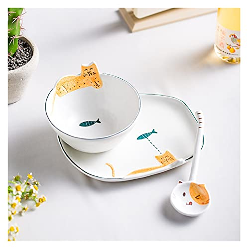 JSJJAEY Plato de Cena Placas de Gato de cerámica pintadas a Mano Cuchara de tazón Conjuntos de vajilla Creativa (Color : 7)