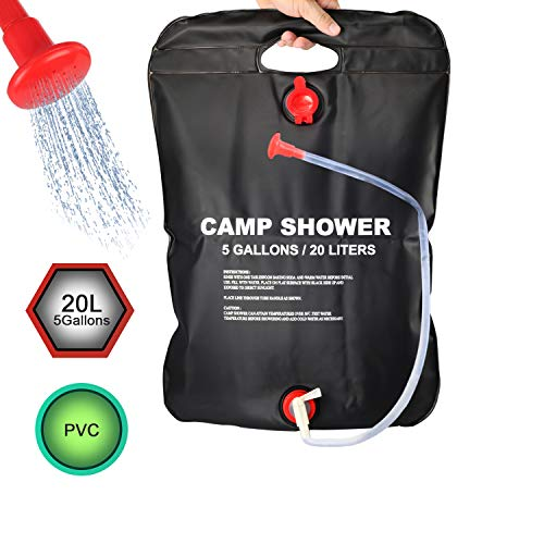 Cheap DOTSOG Portable Outdoor Solar Shower Bag Camp Shower Bag 5 Gallons/20L with Removable Hose and...