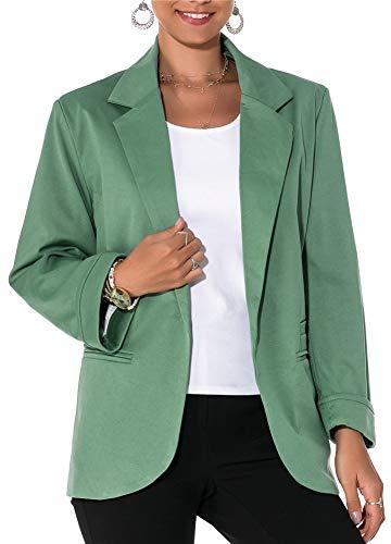Sucor Damen Blazer Strickjacke Dünne 3/4 Falthülse Elegantes Kurzes Oberteil Business Jackett Anzug Jacke Slim Fit Anzug Trenchcoat(XXL,Green)