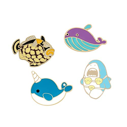 2-4Pcs/Set LGBT Rainbow Heart Enamel Pins Cartoon Fish Sun&Moon Ghost Crown Brooch Bag Clothes Lapel Pin Badge Cute Gift-Fish,China