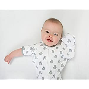 Amazing Baby Transitional Swaddle Sack with Arms Up Half-Length Sleeves and Mitten Cuffs, Tiny Bear, Sterling, Medium, 3-6 Months (Parents' Picks Award Winner, Easy Transition with Better Sleep)
