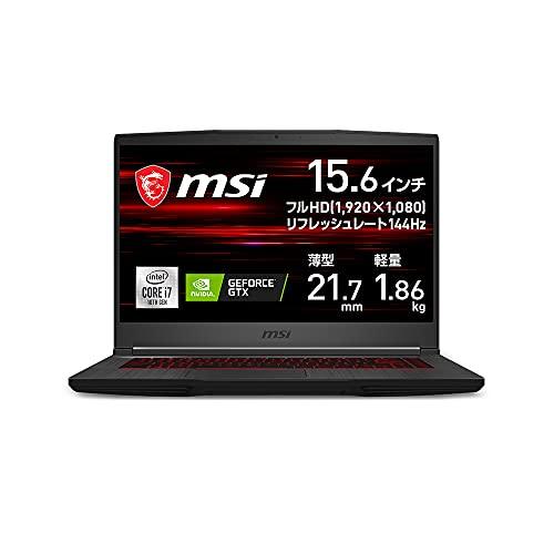 【GTX1660Ti搭載・薄型軽量】MSIゲーミングノートPCGF651.86Kgi7GTX1660Ti/15.6FHD/144Hz/16GB/512GB/GF65-10SDR-1278JP