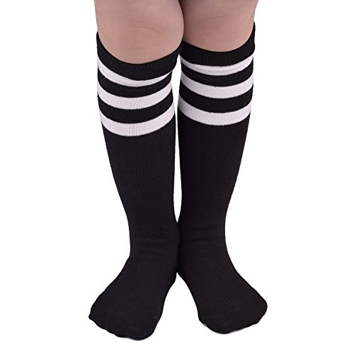Zando Kids Child Cotton Three Stripes Sport Soccer Team Socks Uniform Tube Cute Knee High Stocking for Boys Girls 1 Pairs Black White One Size