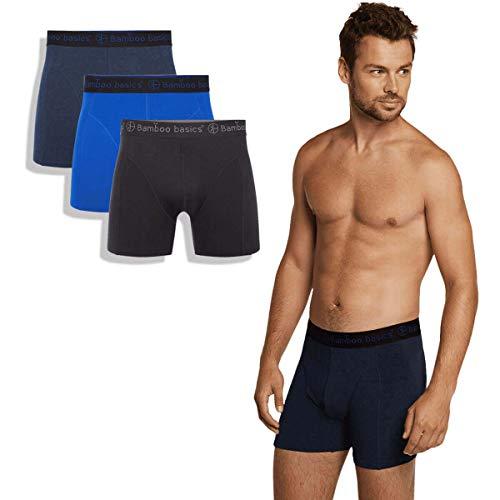 Bamboo Basics - Herren Bambus Boxershorts - Rico - 3er-Pack - Atmungsaktive Unterwäsche - Schwarz, Blau und Marineblau - XXL
