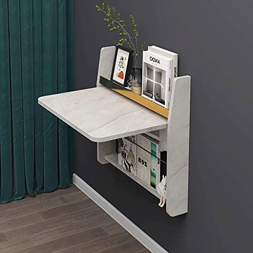 XIAOQIAO Mesa plegable para computadora de pared, escritorio con estante de almacenamiento, estación de trabajo flotante para el hogar, oficina, sala de estar, dormitorio