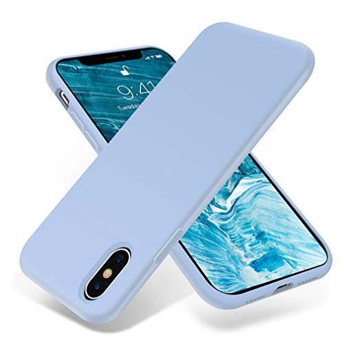 for iPhone X Case, OTOFLY [Silky and Soft Touch Series] Premium Soft Silicone Rubber Full-Body Protective Bumper Case Compatible with Apple iPhone X/Xs 5.8 inch (ONLY) - Light Blue