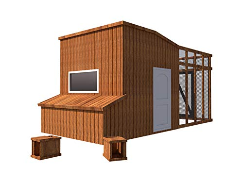 Chicken Coop Plans DIY Poultry Hen House with Run Kennel 8'x10' Build Your Own