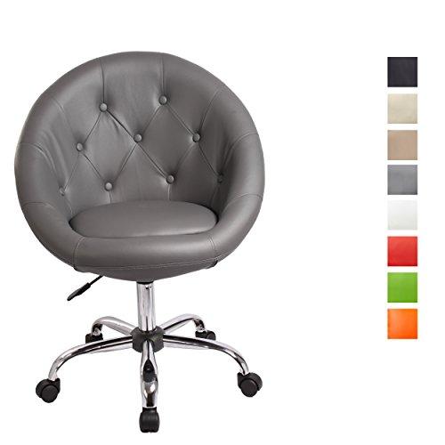 Schicker Rollhocker/Arbeitshocker/Bürostuhl Farbwahl - Hocker Drehstuhl TYP 509B, Farbe:Grau, Material:Kunstleder