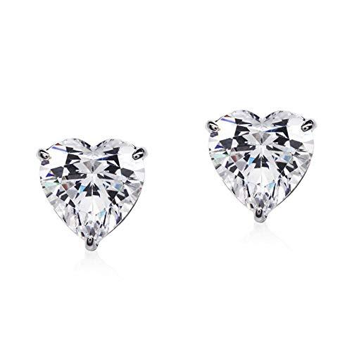 Love Hearts - Orecchini a perno con cristalli di zirconia bianchi o viola, placcati in oro bianco 18 carati, per donne e ragazze e 18ct base metallo placcato oro, colore: bianco, cod. CR-AZ-0098