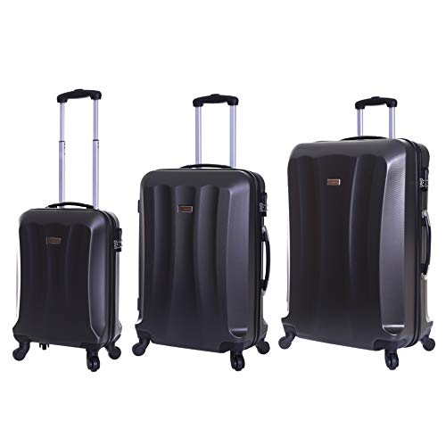 Slimbridge Luggage Set of 3 Hard ABS Shell Suitcases Large Medium and Carry On 4 Wheels Number Lock, Lydd Graphite