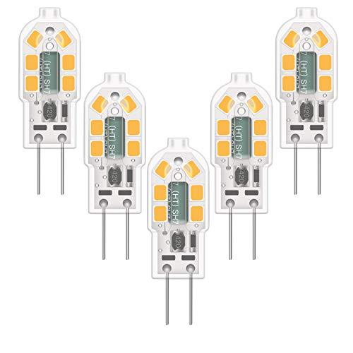 YBTOP G4 LED-Glühbirne, 2W (20W äquivalent) DC/AC 12V, 200LM, warmweiß 3000K, 360° Abstrahlwinkel, nicht dimmbar, energiesparende LED-Lampen mit transparenter PVC-Abdeckung, 5er-Pack