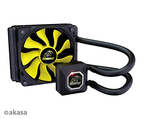 Akasa 120 mm Venom A20 Enkele Radiator All-In-one/AIO Vloeibare CPU Koeler met High Performance S-FLOW Blade Fan - Zwart