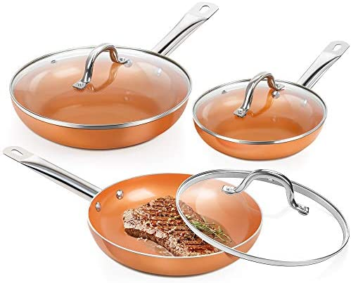 SHINEURI 6 Pieces Nonstick Copper Pan Set 8 9 5 11 inch Frying Pan Set with Lid Fry Pan Set product image
