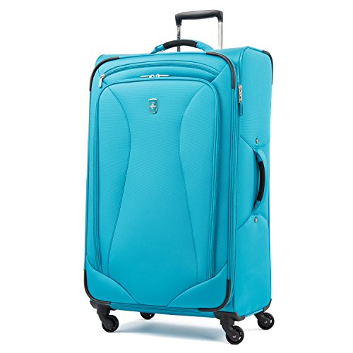 Atlantic Luggage 3111769 Atlantic Ultra Lite Softsides 29' Expandable Spinner, turquoise blue, Checked Large
