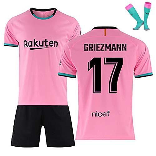 LISI Conjunto Camiseta y Pantalón FC Barcelona, 20-21 Rosa Camiseta de Futbol para Niños y Adulto Unisex Fans Replica - 100% Poliéster,D,16