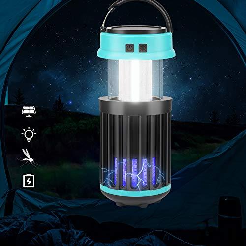 OVAREO UV Insektenvernichter Elektrisch,USB Wiederaufladbar LED Anti-Mückenlampe,2-In-1 Wespenfalle Elektrisch,10W Fliegenfänger Moskito Killer Mückenschutz Lampe für Innen&Außen, für Mücken,Fliegen
