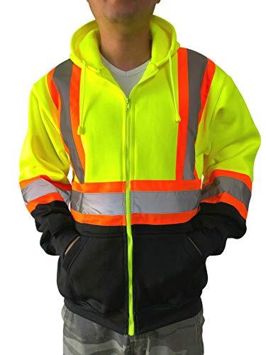 NY GOLDEN FASHION Hi Vis High Visibility Reflective Construction Work Fleece Hoodie Sweatshirt Jacket with Hood (Neon Yellow, 2XL)