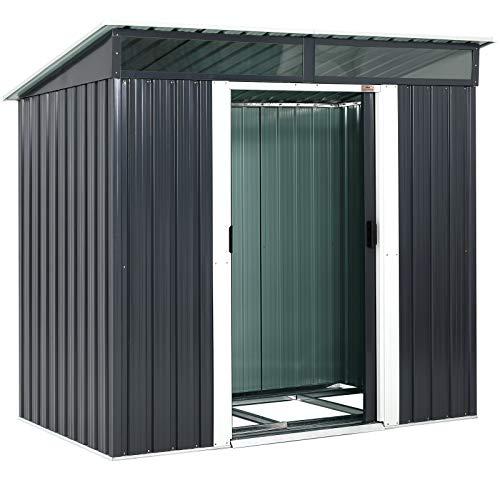 Gardebruk L Metall Gerätehaus 3,4m³ mit Fundament 196x122x180cm 2 Fenster Anthrazit Geräteschuppen Gartenhaus