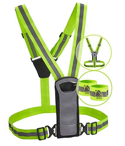 Sportweste und Bands von Athlé mit Handy- und Aufbewahrungstasche, Sichtbarkeit garantiert Elastischer, Verstellbarer und bequemer Gürtel - für Laufen, Radfahren und Joggen