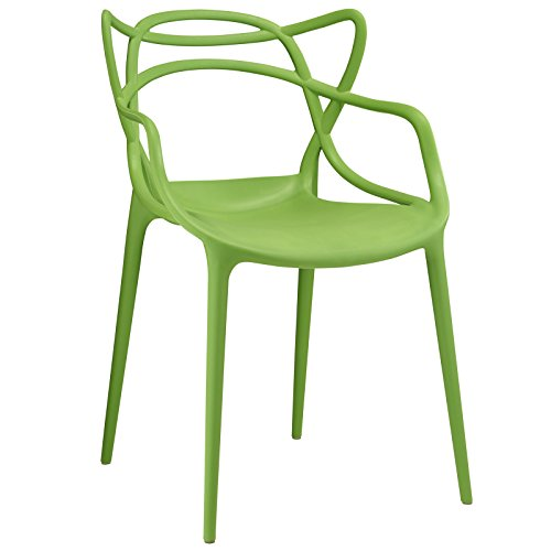 Modway Entangled Modern Molded Plastic Kitchen and Dining Room Arm Chair in Green - Fully Assembled
