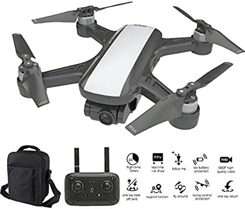 RC Drohne, Farbeful Quadcopter 1080P HD-Kamera, 2-Achsen Stabilized Gimbal Drone mit Brushless Motor, Drohne GPS Return Home & Altitude Hold, FPV RC Quadcopters, 5G WiFi ,Tragetasche (Weiß)