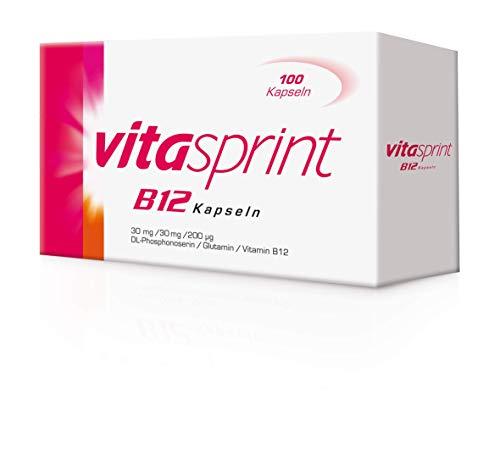 Vitasprint B12 Kapseln – Arzneimittel mit hochdosiertem Vitamin B12 und Eiweißbausteinen für geistige und körperliche Energie – 1 x 100 Kapseln
