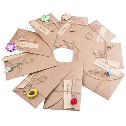 Joeyer 9 Pcs Tarjeta de Felicitación Hechas a Mano, Flores Secadas Retro Postal Decorada para Navidad Boda Regalo Cumpleaños Fiesta