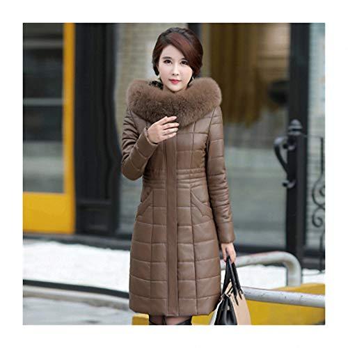 Leather Coat Female Medium Long Parka Jacket Hooded Large Fur Collar Leather Clothing Champagne L