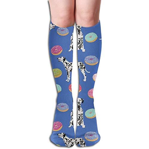 xinfub Dalmatiner-Donuts-Stoff, niedlich, leuchtende Pastell-Hunde- und Donuts-Design, Blau, Unisex, bequeme Crew-Socken, sportlich, für Flugreisen 6808