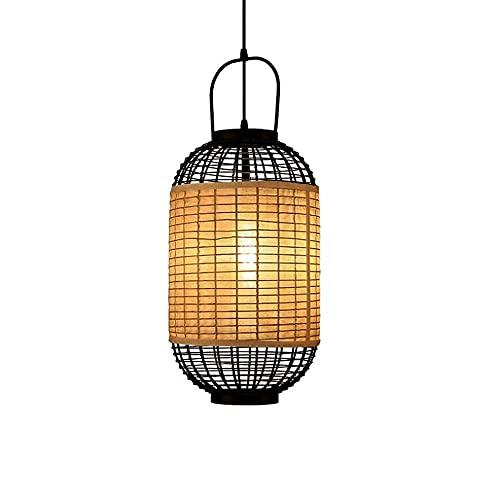 MADBLR7 Lámparas Colgantes para Isla de Cocina, 1 Pieza Lámpara clásica Lámpara Decorativa de bambú Tejida Lámpara rústica Tipo Loft Restaurante de Estilo clásico Lámpara de araña Japonesa de ratán