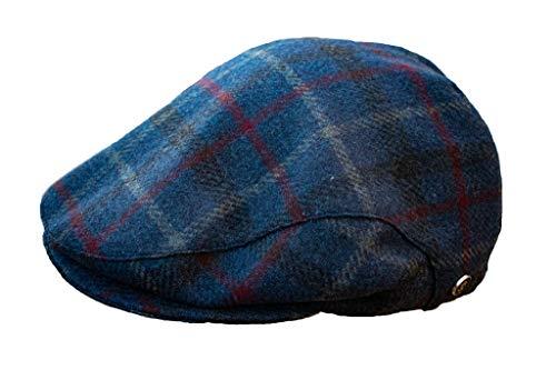 Wegener - Berretto a forma classica in 100% lana e con fodera interna, prodotto in Europa (blu a quadretti, 59)