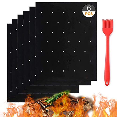Grill Mats for Outdoor Grill with Holes,Grill Mat 6PCS Set with BBQ Oil Brush,Grill Mats for Gas Grill Non-Stick Heavy Duty Reusable and Dishwasher Safe for Use on Gas, Charcoal and Electric Grills