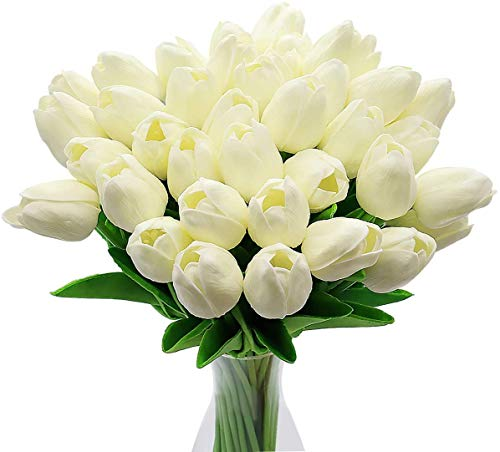 CattleyaHQ Flores de tulipán Artificiales, 10 Piezas de Tulipanes Reales con Hojas, decoración para Banquete de Boda Nupcial, Mesa de Cocina para el hogar (Amarillo)