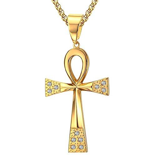 BOBIJOO Jewelry - Grote Hanger Ketting Kruis van het Leven, Ankh roestvrij Staal, Goud, Zirkonium + String