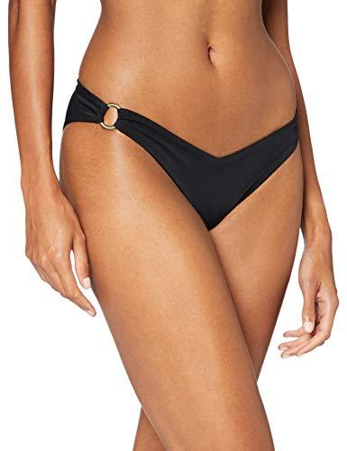 Amazon-Marke: Iris & Lilly Damen Bikini Hose mit hohem Beinausschnitt, Mehrfarbig (Schwarz), M, Label: M
