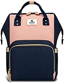 Hafmall Diaper Bag Backpack Waterproof Travel Mummy Nappy Bags, Large Capacity and Multi-Function Back Pack Organizer with Baby Insulated Pockets (Pink&Navy Blue)