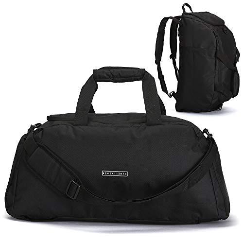 ronin's 3in1 Sporttasche Reisetasche mit Schuhfach + Rucksack-Funktion + Laptopfach | 38 Liter Handgepäck Weekender | für Männer und Frauen | (Black Night)