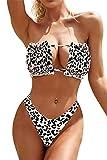 heekpek Conjunto Bikini Mujer Brasileño Bikini Bandeau Set sin Tirantes con Cordón Sexy Bikini Estampado