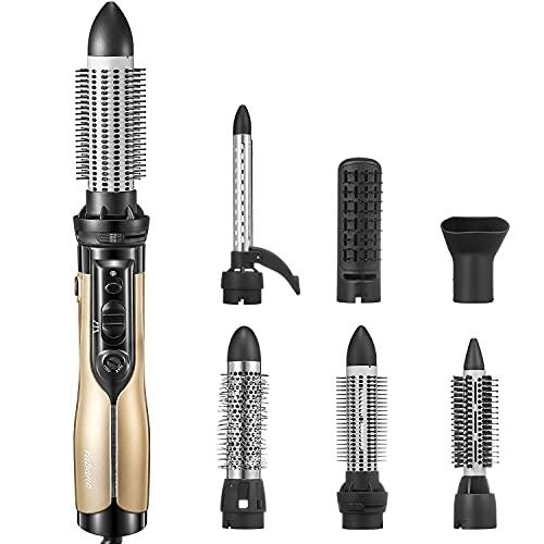 Yabano Cepillo de Aire, Cepillo eléctrico multifuncional 6 en 1, secador de cabello y rizador de doble voltaje para viajes, función de iones negativos, 1000 W