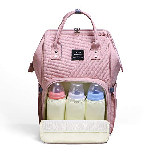 Diaper Bag Backpack Large Capacity for Baby Care Wide Open Design and Waterproof Fabric (Pink)