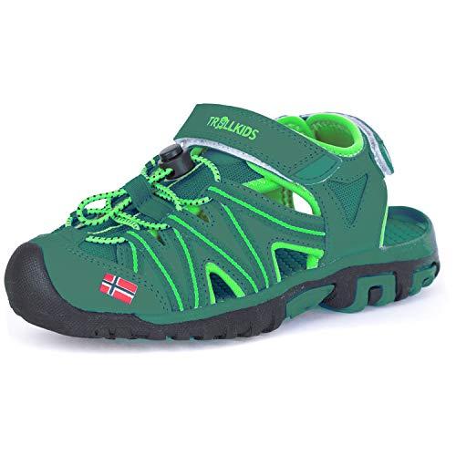 Trollkids Kinder Sportsandale Lillesand Sandale, Darkgrün/Lightgrün, Größe 28