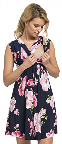 Zeta Ville - Women's Maternity Nursing A-line Dress V-Neck - Sleeveless - 808c (Navy with Flowers, UK 8, S)