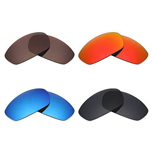 Mryok 4 Paar Gepolariseerde Vervangende Lenzen voor Oakley Blender Zonneglas - Stealth Zwart/Vuur Rood/IJsblauw/Brons Bruin