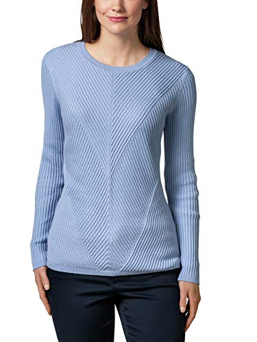 Walbusch Damen Relief Pullover Cashmere Mix einfarbig Hellblau 36