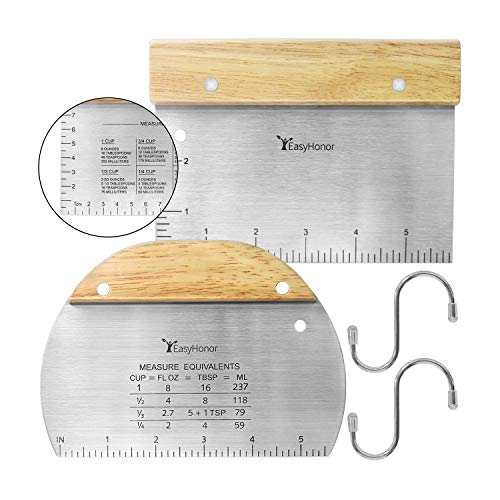 EasyHonor Stainless Steel Metal Griddle Scraper Chopper - Great as Dough Cutter for Bread and Pizza Dough - Multipurpose Kitchen Utensil for Flat Top Griddle - Wooden Handle 2 PCS