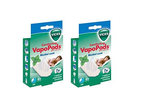 2 almohadillas de vapoPads Vicks para mentol, 2 paquetes de 7 = 14 almohadillas