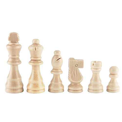 """Amerous Wooden Chess Pieces 3.03"""" King, Hand Carved Figure Figurine Chess Pawns Nature Wood Chessmen, French Staunton Style"""